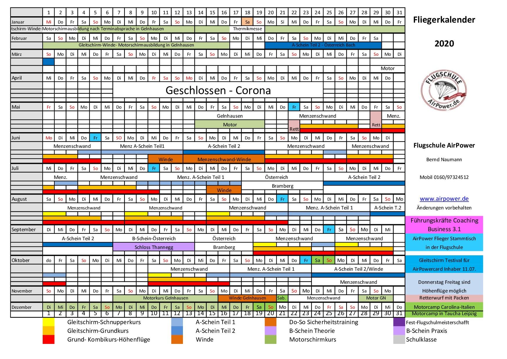 Fliegerkalender 2020 aktuell Okt