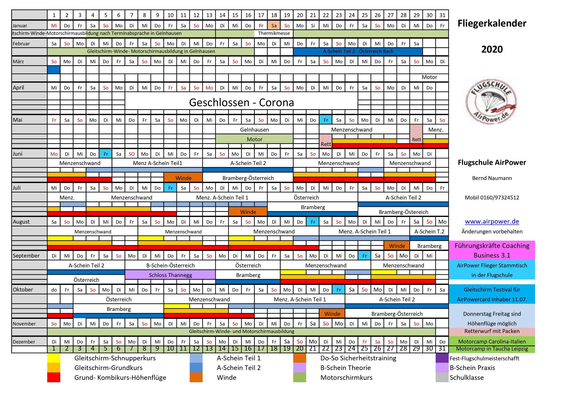 Fliegerkalender d 2020